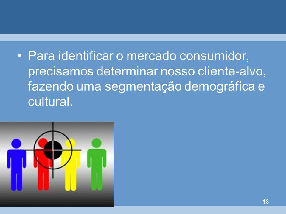 13 Para identificar o mercado consumidor, precisamos determinar nosso cliente-alvo, fazendo uma segmentação demográfica e cultural.
