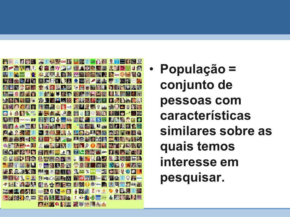 18 População = conjunto de pessoas com características similares sobre as quais temos interesse em pesquisar.