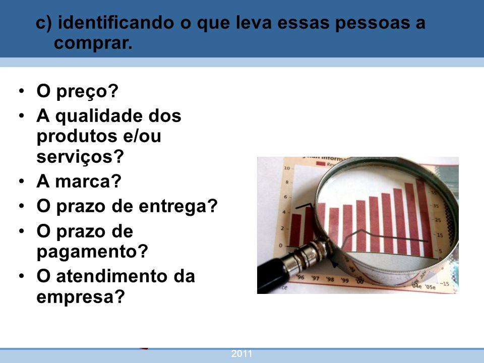nivea@cordeiroeaureliano.com.br 2011 42 O preço? A qualidade dos produtos e/ou serviços? A marca? O prazo de entrega? O prazo de pagamento? O atendime