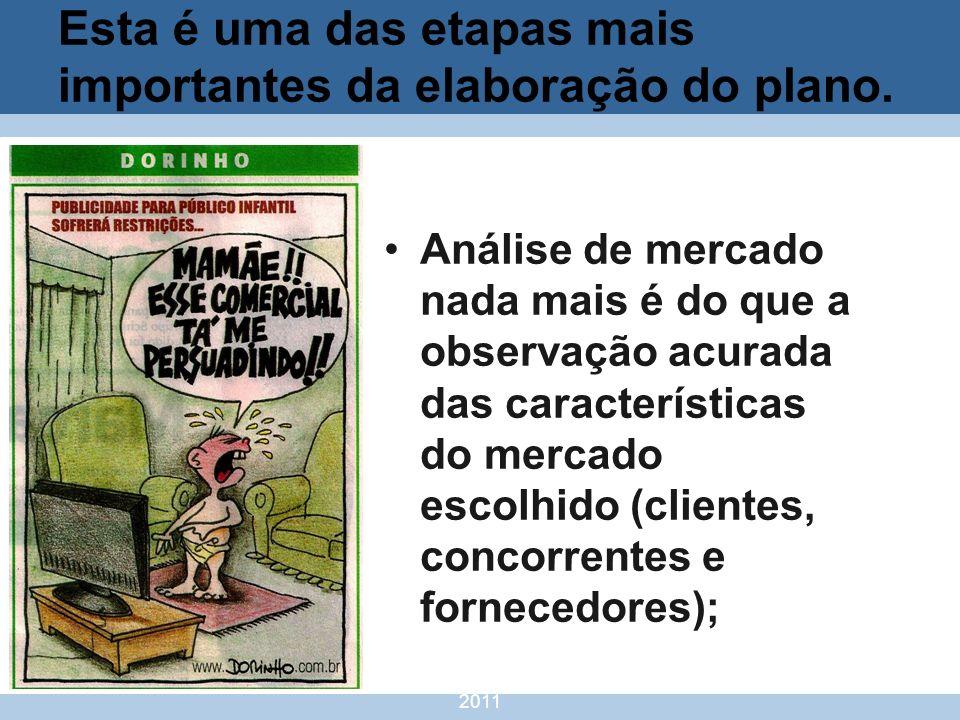 nivea@cordeiroeaureliano.com.br 2011 8 Esta é uma das etapas mais importantes da elaboração do plano. Análise de mercado nada mais é do que a observaç