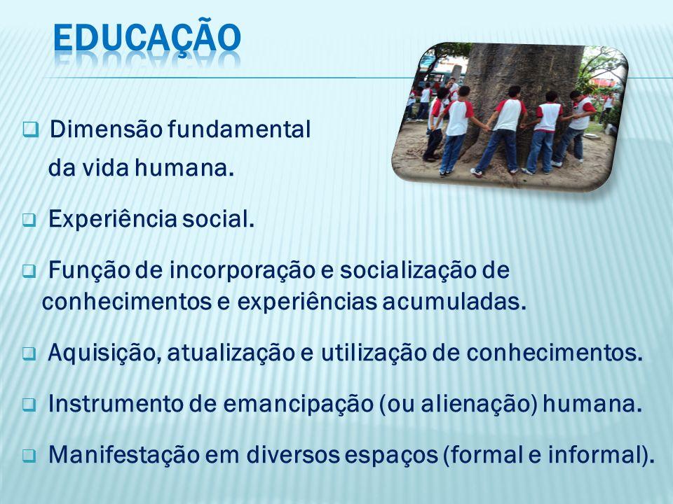 Dimensão fundamental da vida humana. Experiência social. Função de incorporação e socialização de conhecimentos e experiências acumuladas. Aquisição,