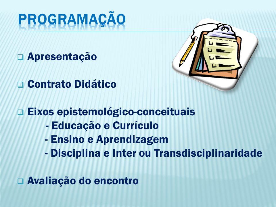 Apresentação Contrato Didático Eixos epistemológico-conceituais - Educação e Currículo - Ensino e Aprendizagem - Disciplina e Inter ou Transdisciplina