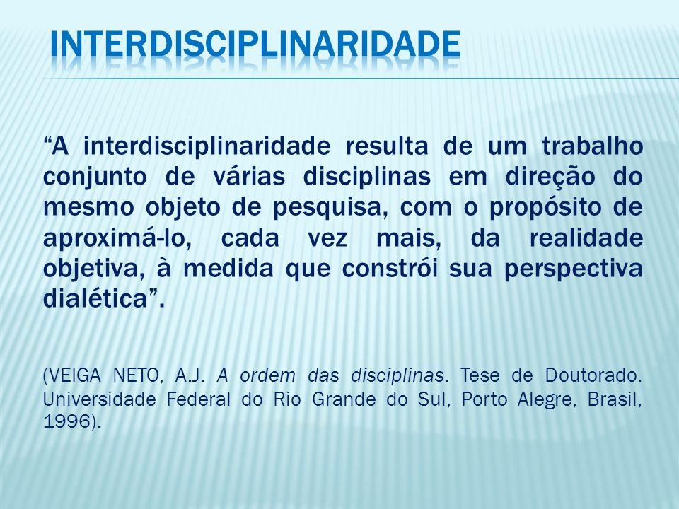 A interdisciplinaridade resulta de um trabalho conjunto de várias disciplinas em direção do mesmo objeto de pesquisa, com o propósito de aproximá-lo,