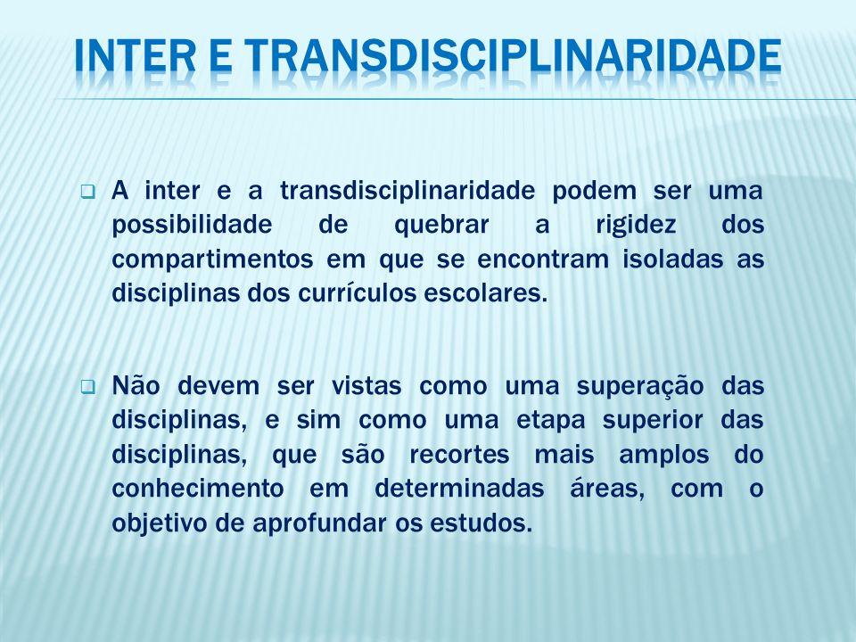A inter e a transdisciplinaridade podem ser uma possibilidade de quebrar a rigidez dos compartimentos em que se encontram isoladas as disciplinas dos