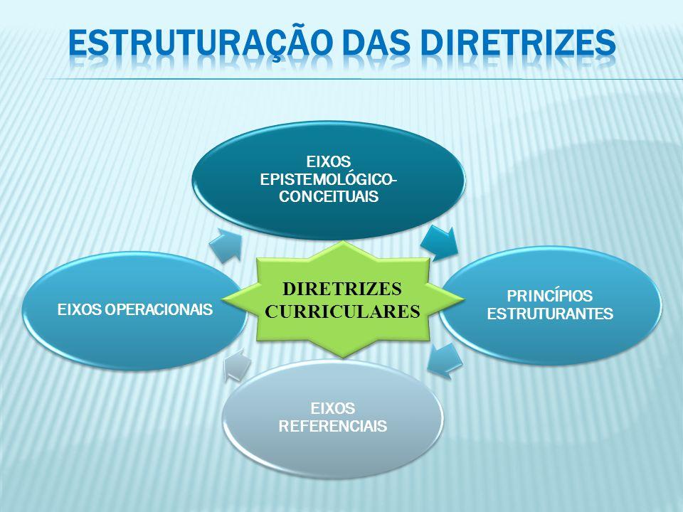 EIXOS EPISTEMOLÓGICO- CONCEITUAIS PRINCÍPIOS ESTRUTURANTES EIXOS REFERENCIAIS EIXOS OPERACIONAIS DIRETRIZES CURRICULARES