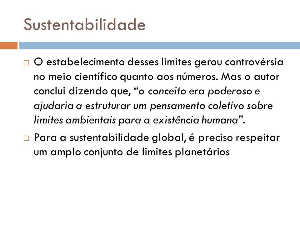 Sustentabilidade O estabelecimento desses limites gerou controvérsia no meio científico quanto aos números. Mas o autor conclui dizendo que, o conceit