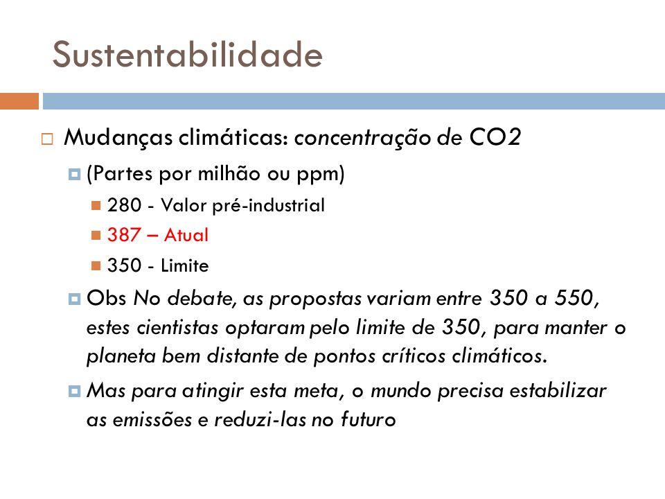 Sustentabilidade Mudanças climáticas: concentração de CO2 (Partes por milhão ou ppm) 280 - Valor pré-industrial 387 – Atual 350 - Limite Obs No debate