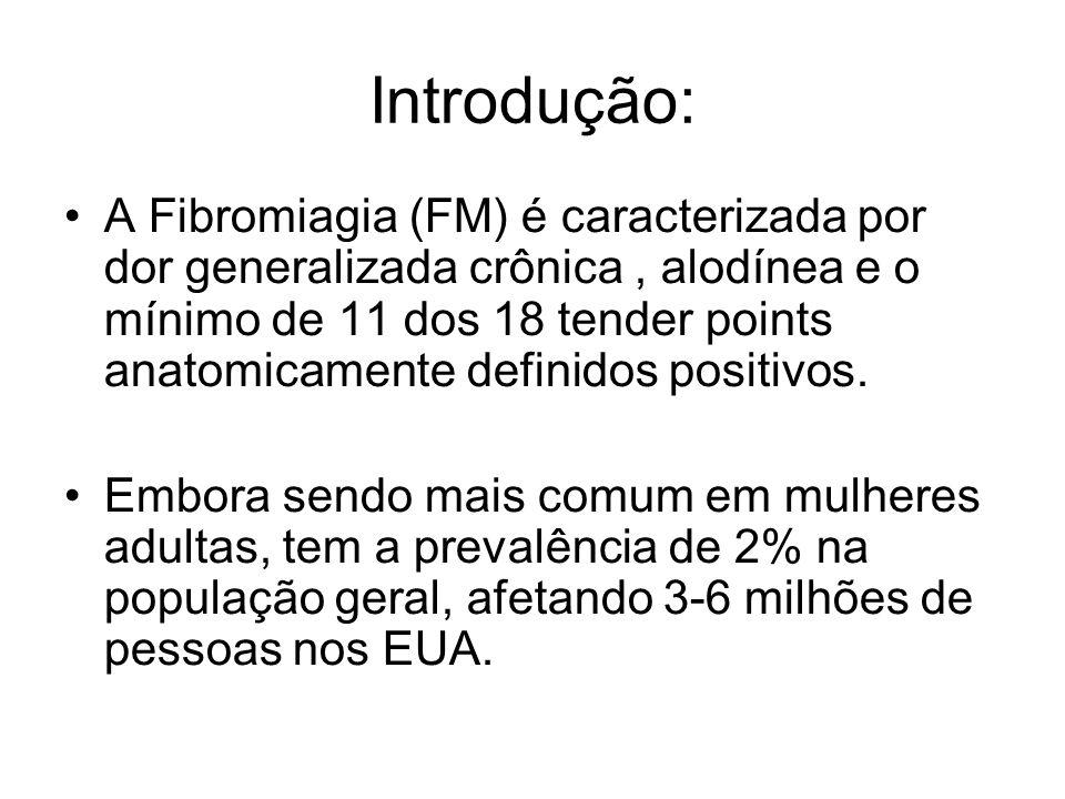 Introdução: A Fibromiagia (FM) é caracterizada por dor generalizada crônica, alodínea e o mínimo de 11 dos 18 tender points anatomicamente definidos p