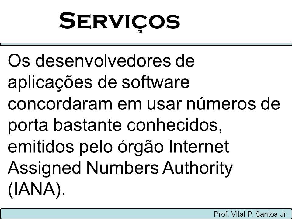Serviços Prof. Vital P. Santos Jr. Os desenvolvedores de aplicações de software concordaram em usar números de porta bastante conhecidos, emitidos pel