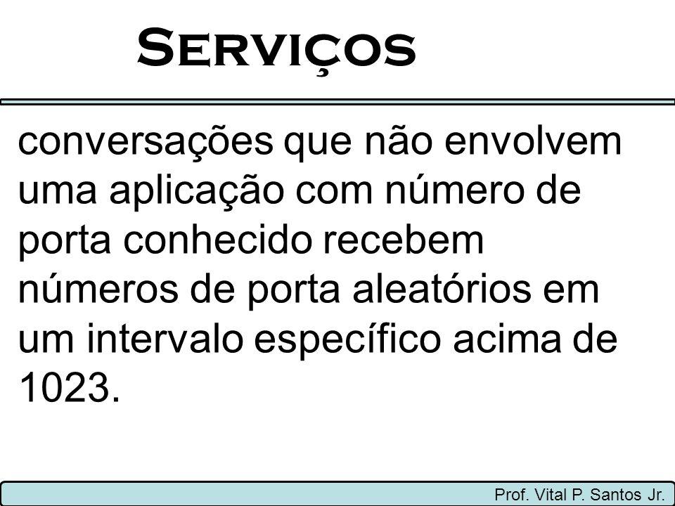 Serviços Prof. Vital P. Santos Jr. conversações que não envolvem uma aplicação com número de porta conhecido recebem números de porta aleatórios em um