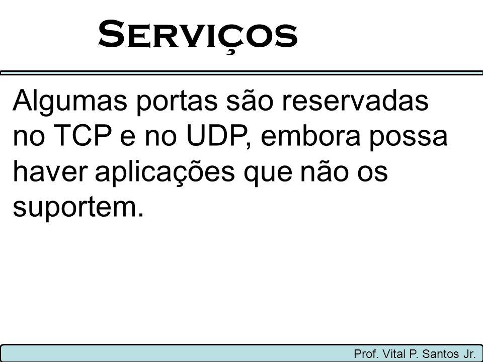 Serviços Prof. Vital P. Santos Jr. Algumas portas são reservadas no TCP e no UDP, embora possa haver aplicações que não os suportem.