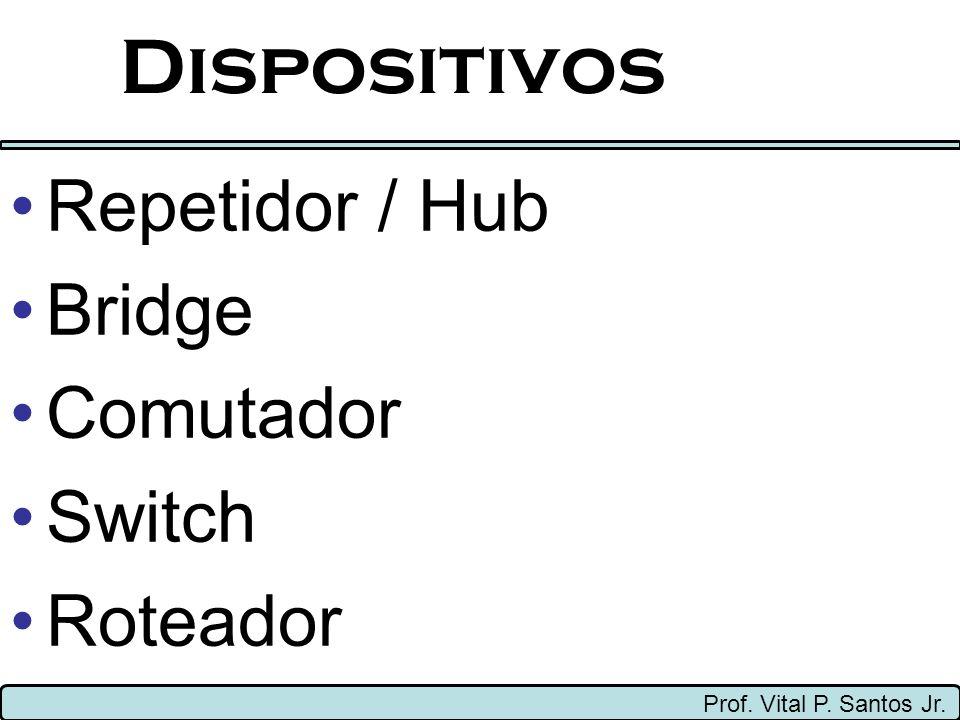 Dispositivos Prof. Vital P. Santos Jr. Repetidor / Hub Bridge Comutador Switch Roteador