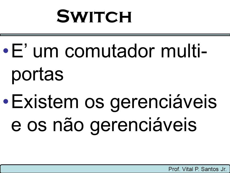 Switch Prof. Vital P. Santos Jr. E um comutador multi- portas Existem os gerenciáveis e os não gerenciáveis