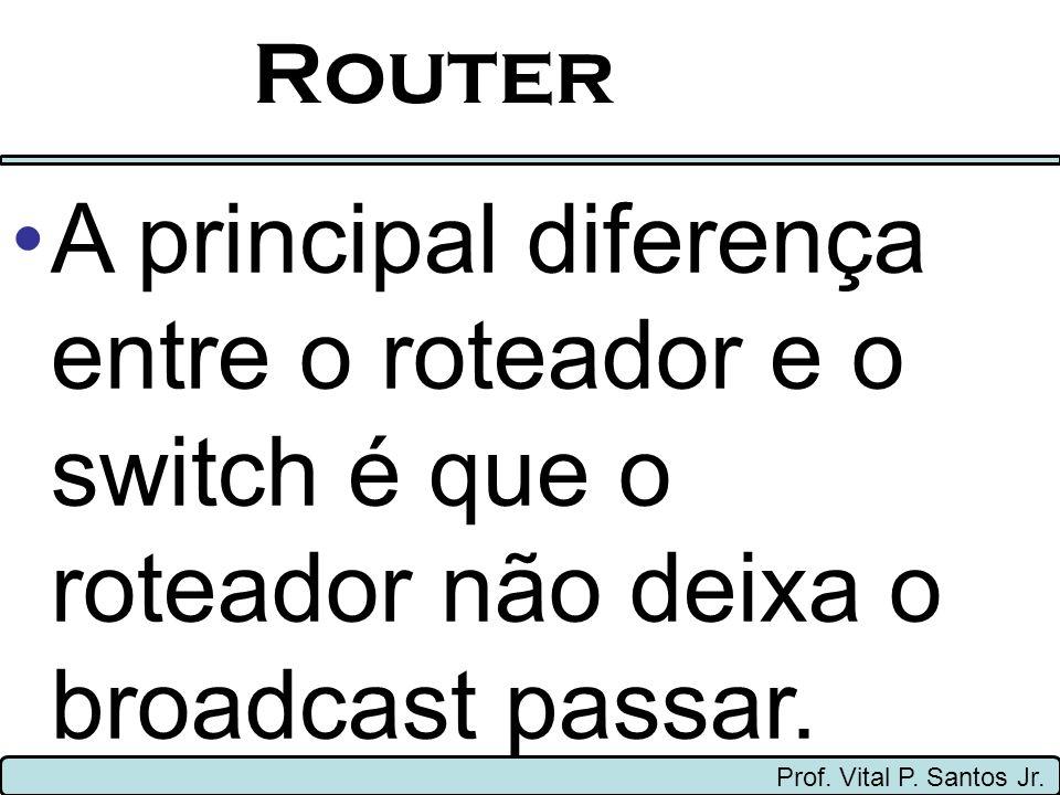Router Prof. Vital P. Santos Jr. A principal diferença entre o roteador e o switch é que o roteador não deixa o broadcast passar.