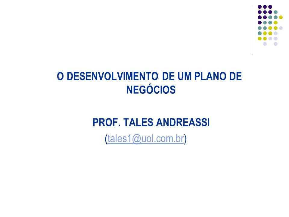 O DESENVOLVIMENTO DE UM PLANO DE NEGÓCIOS PROF. TALES ANDREASSI (tales1@uol.com.br)tales1@uol.com.br