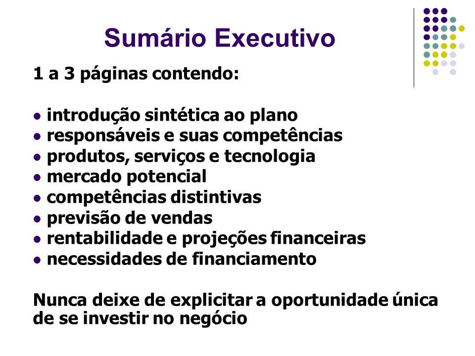 Sumário Executivo 1 a 3 páginas contendo: introdução sintética ao plano responsáveis e suas competências produtos, serviços e tecnologia mercado poten