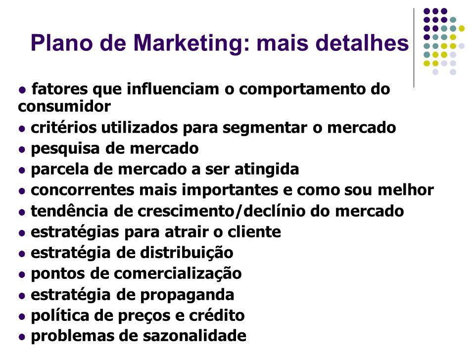Plano de Marketing: mais detalhes fatores que influenciam o comportamento do consumidor critérios utilizados para segmentar o mercado pesquisa de merc