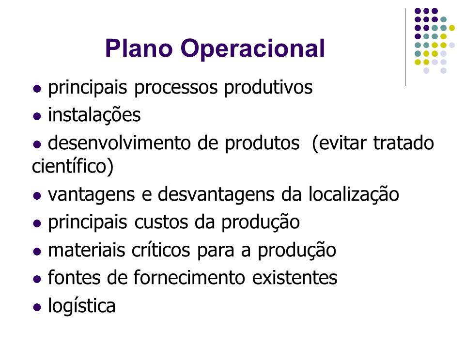Plano Operacional principais processos produtivos instalações desenvolvimento de produtos (evitar tratado científico) vantagens e desvantagens da loca