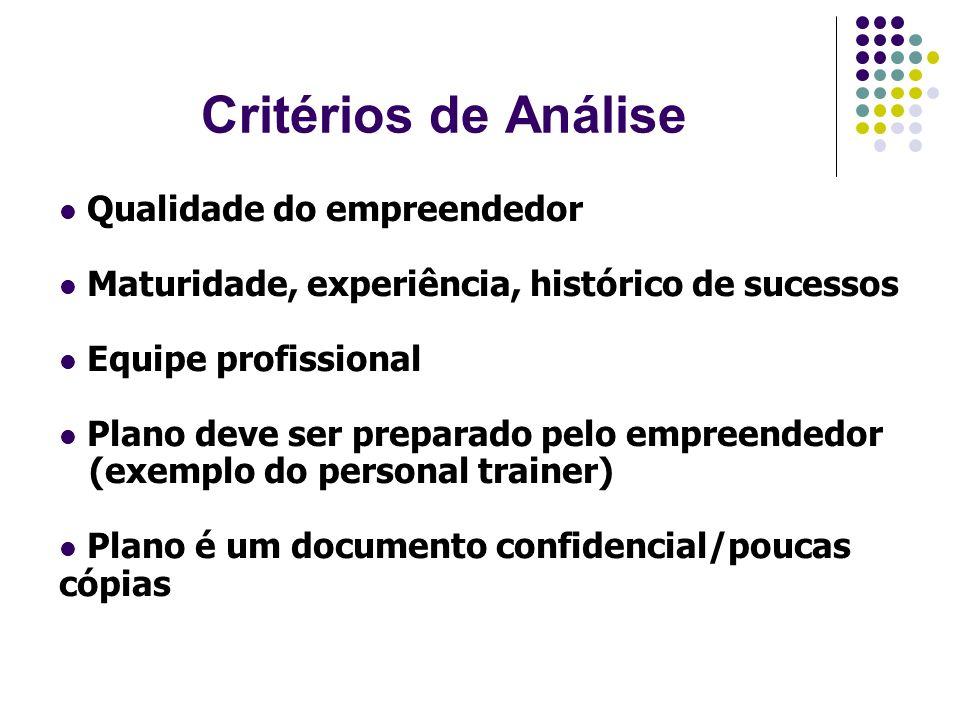 Critérios de Análise Qualidade do empreendedor Maturidade, experiência, histórico de sucessos Equipe profissional Plano deve ser preparado pelo empree