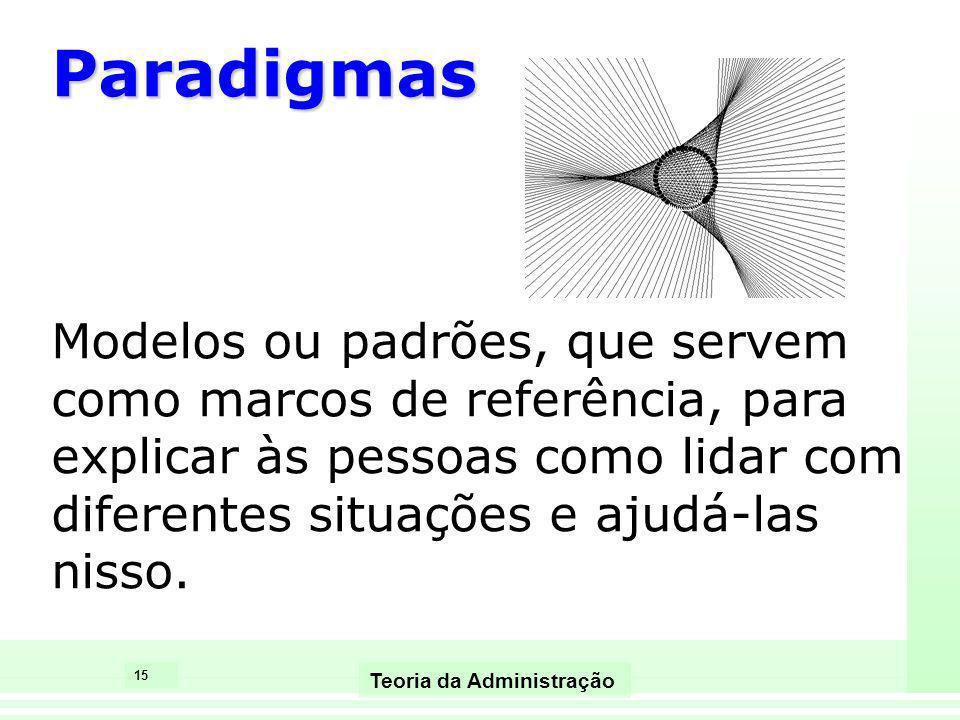 15 Teoria da Administração Paradigmas Modelos ou padrões, que servem como marcos de referência, para explicar às pessoas como lidar com diferentes sit