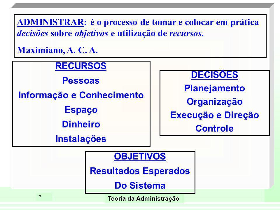 7 Teoria da Administração ADMINISTRAR: é o processo de tomar e colocar em prática decisões sobre objetivos e utilização de recursos. Maximiano, A. C.