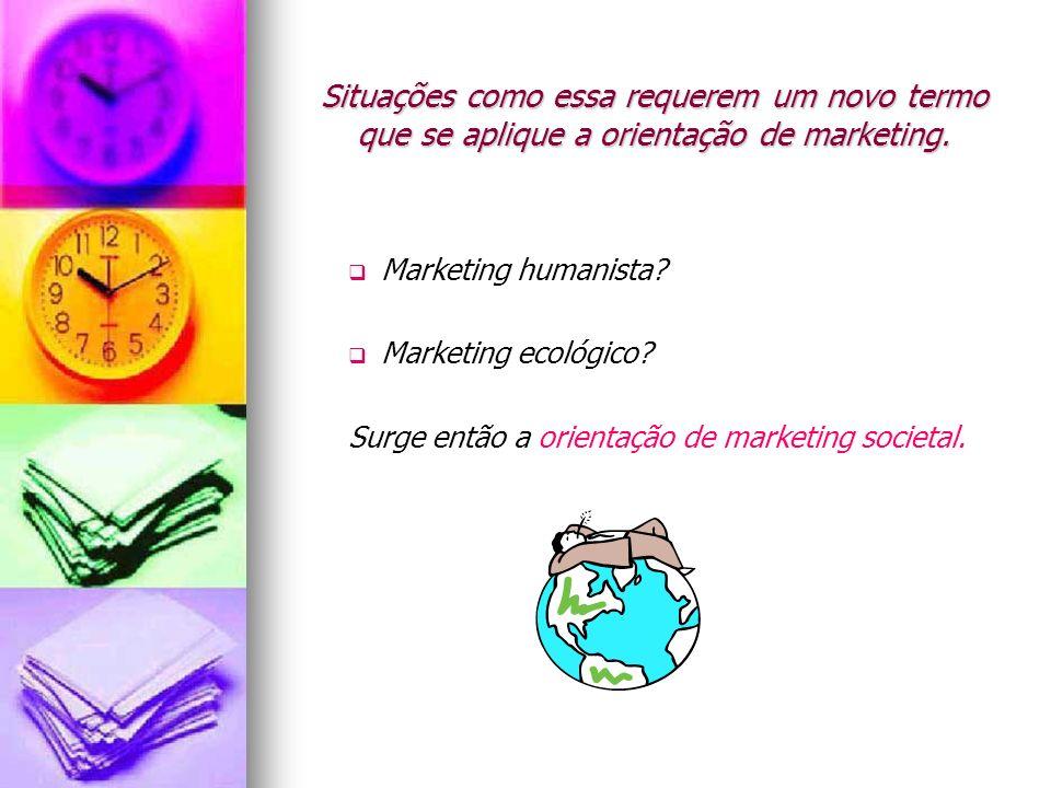 Situações como essa requerem um novo termo que se aplique a orientação de marketing. Marketing humanista? Marketing ecológico? Surge então a orientaçã