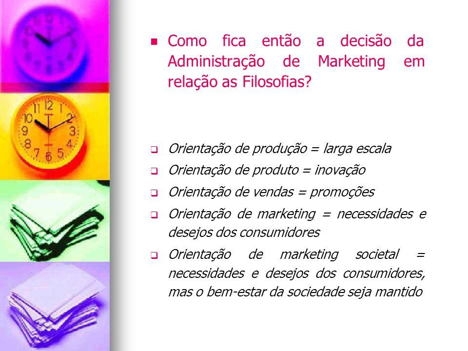 Como fica então a decisão da Administração de Marketing em relação as Filosofias? Orientação de produção = larga escala Orientação de produto = inovaç