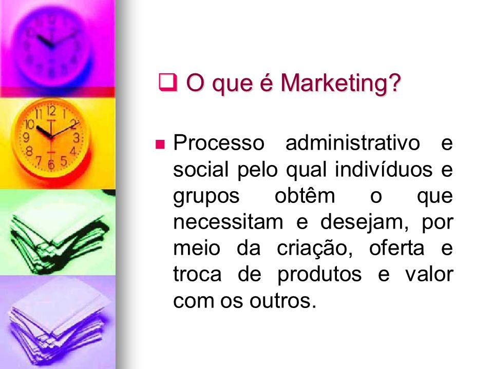 O que é Marketing? O que é Marketing? Processo administrativo e social pelo qual indivíduos e grupos obtêm o que necessitam e desejam, por meio da cri