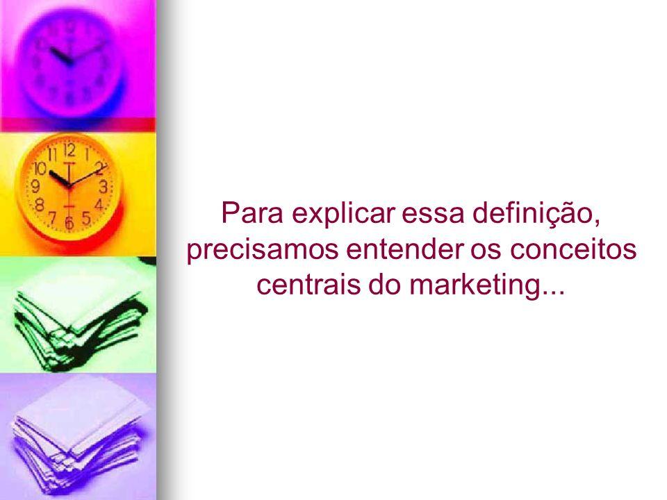 Para explicar essa definição, precisamos entender os conceitos centrais do marketing...