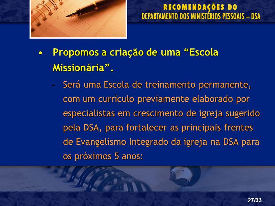 27/33 Propomos a criação de uma Escola Missionária. –Será uma Escola de treinamento permanente, com um currículo previamente elaborado por especialist