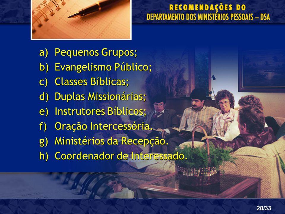 28/33 a)Pequenos Grupos; b)Evangelismo Público; c)Classes Bíblicas; d)Duplas Missionárias; e)Instrutores Bíblicos; f)Oração Intercessória. g)Ministéri