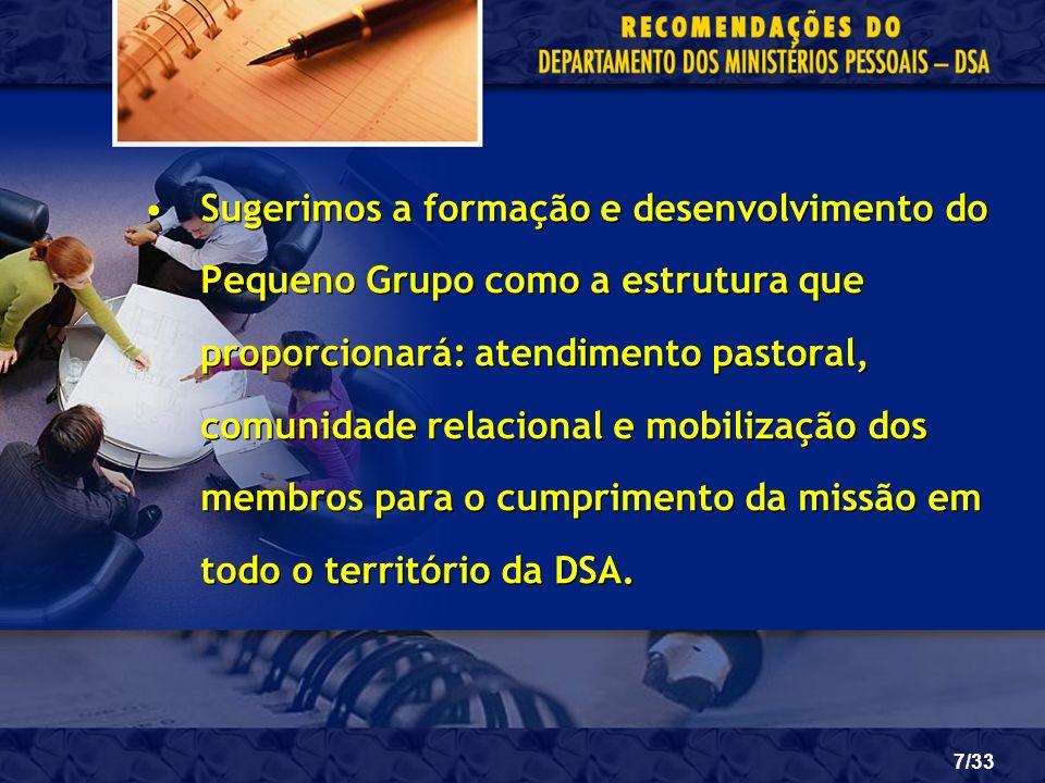 28/33 a)Pequenos Grupos; b)Evangelismo Público; c)Classes Bíblicas; d)Duplas Missionárias; e)Instrutores Bíblicos; f)Oração Intercessória.