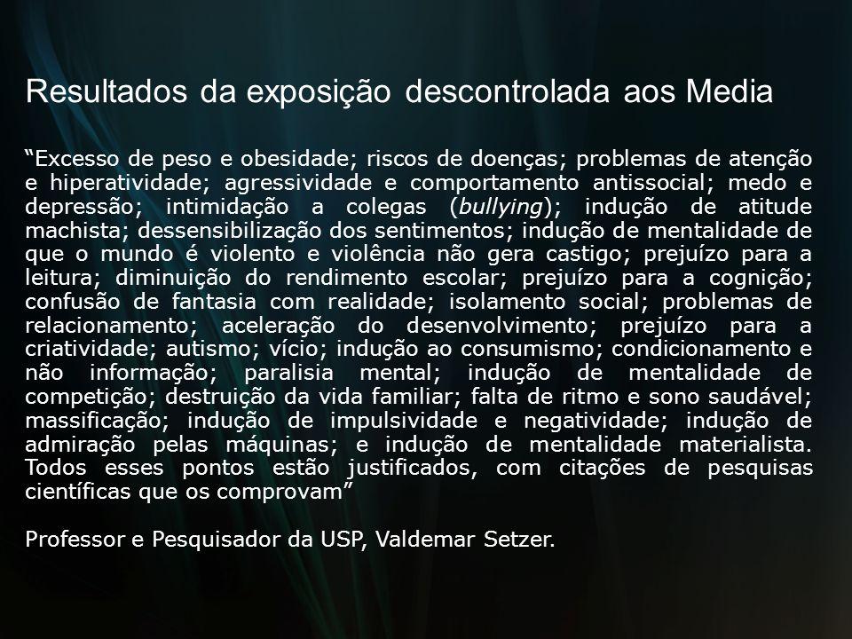 Resultados da exposição descontrolada aos Media Excesso de peso e obesidade; riscos de doenças; problemas de atenção e hiperatividade; agressividade e