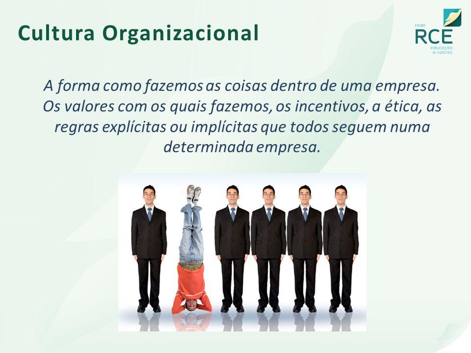 Cultura Organizacional A forma como fazemos as coisas dentro de uma empresa. Os valores com os quais fazemos, os incentivos, a ética, as regras explíc