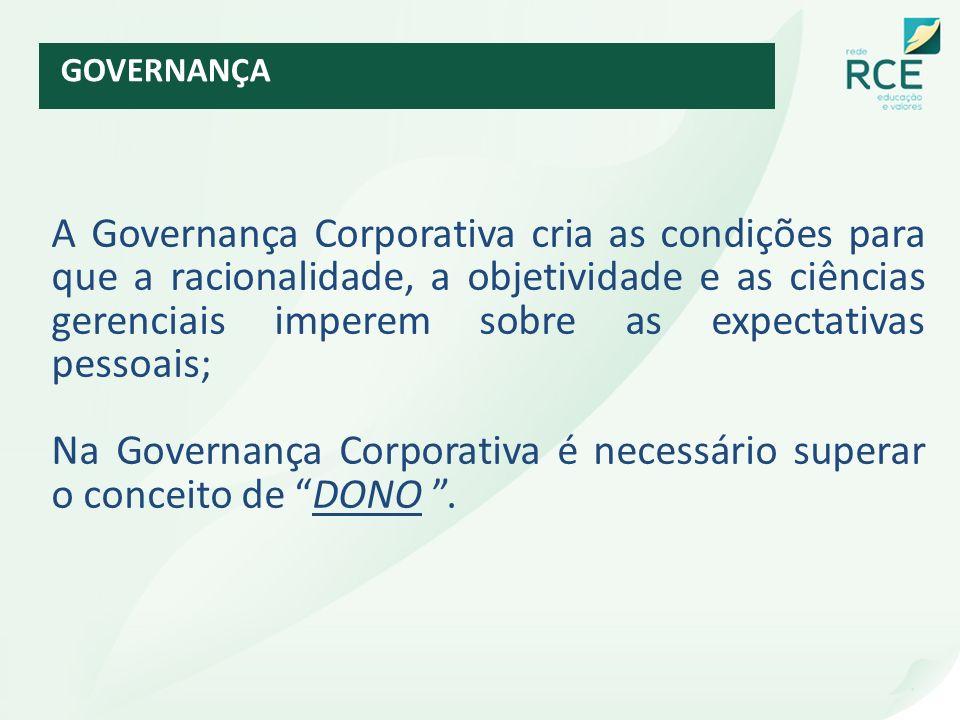 A Governança Corporativa cria as condições para que a racionalidade, a objetividade e as ciências gerenciais imperem sobre as expectativas pessoais; N