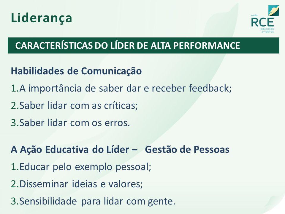 Liderança Habilidades de Comunicação 1.A importância de saber dar e receber feedback; 2.Saber lidar com as críticas; 3.Saber lidar com os erros. A Açã