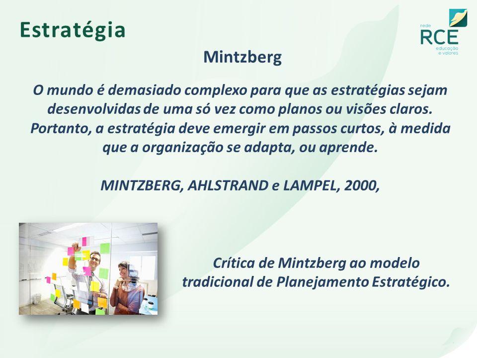 Estratégia Mintzberg Crítica de Mintzberg ao modelo tradicional de Planejamento Estratégico. O mundo é demasiado complexo para que as estratégias seja