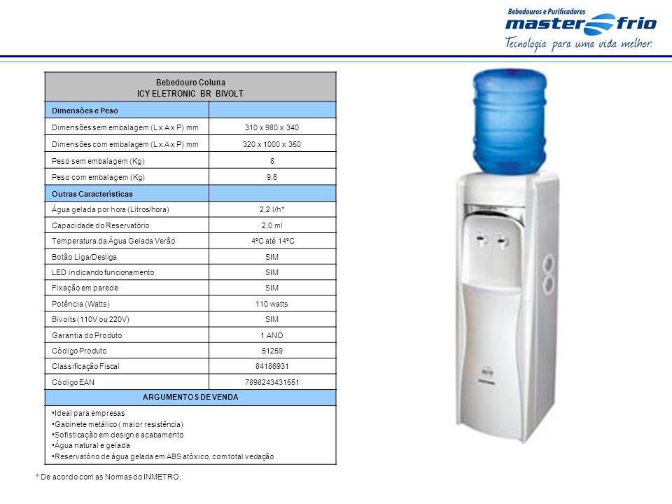 * De acordo com as Normas do INMETRO. Bebedouro Coluna ICY ELETRONIC BR BIVOLT Dimensões e Peso Dimensões sem embalagem (L x A x P) mm310 x 980 x 340
