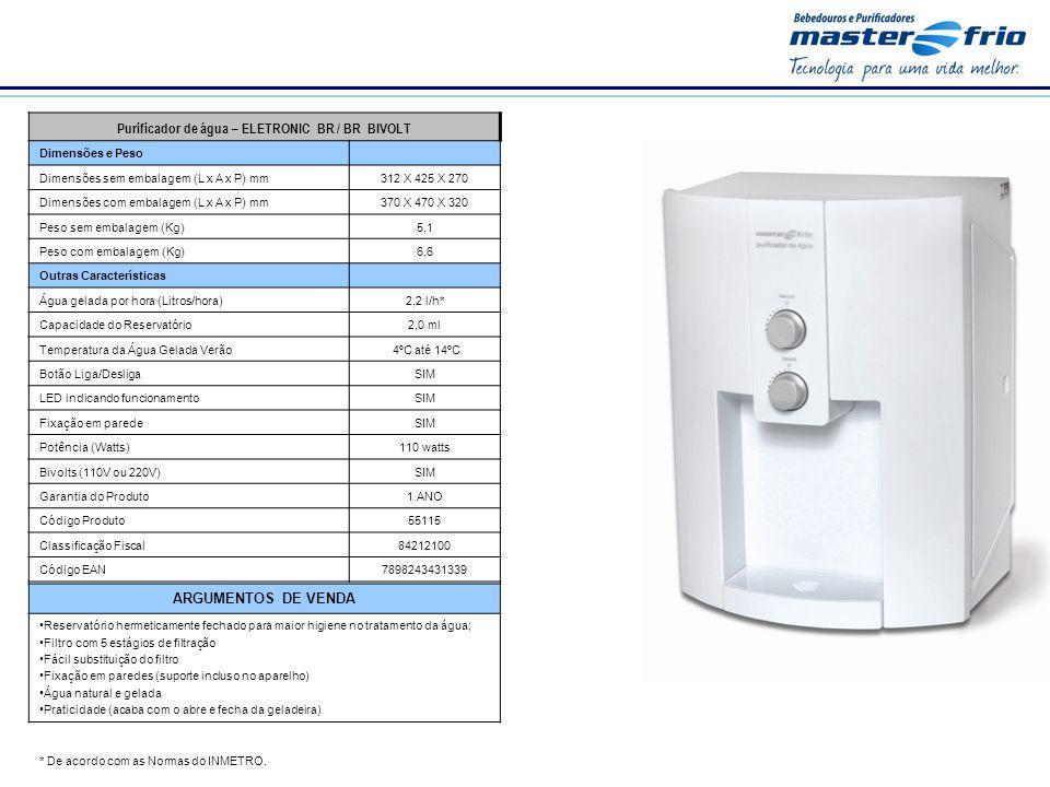 * De acordo com as Normas do INMETRO. Purificador de água – ELETRONIC BR / BR BIVOLT Dimensões e Peso Dimensões sem embalagem (L x A x P) mm312 X 425