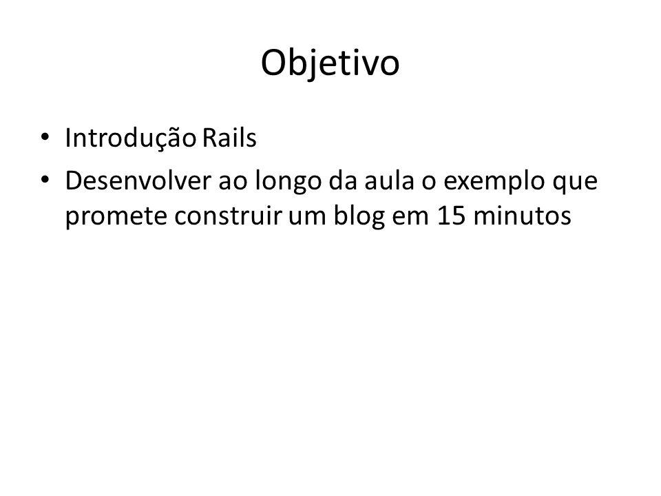 Objetivo Introdução Rails Desenvolver ao longo da aula o exemplo que promete construir um blog em 15 minutos