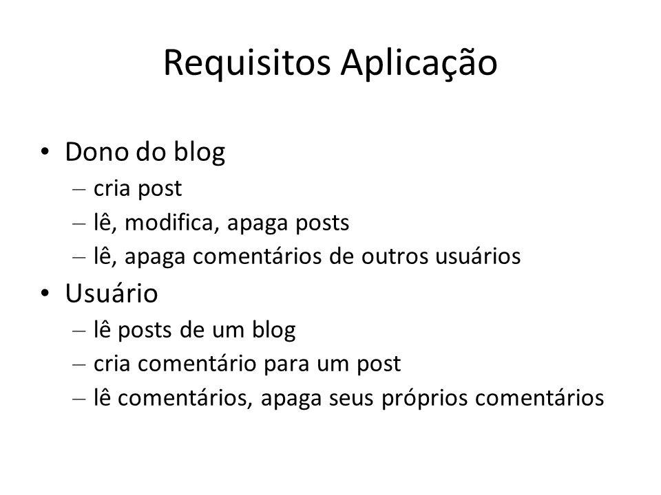 Requisitos Aplicação Dono do blog – cria post – lê, modifica, apaga posts – lê, apaga comentários de outros usuários Usuário – lê posts de um blog – c