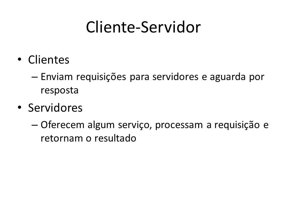 Cliente-Servidor Clientes – Enviam requisições para servidores e aguarda por resposta Servidores – Oferecem algum serviço, processam a requisição e re