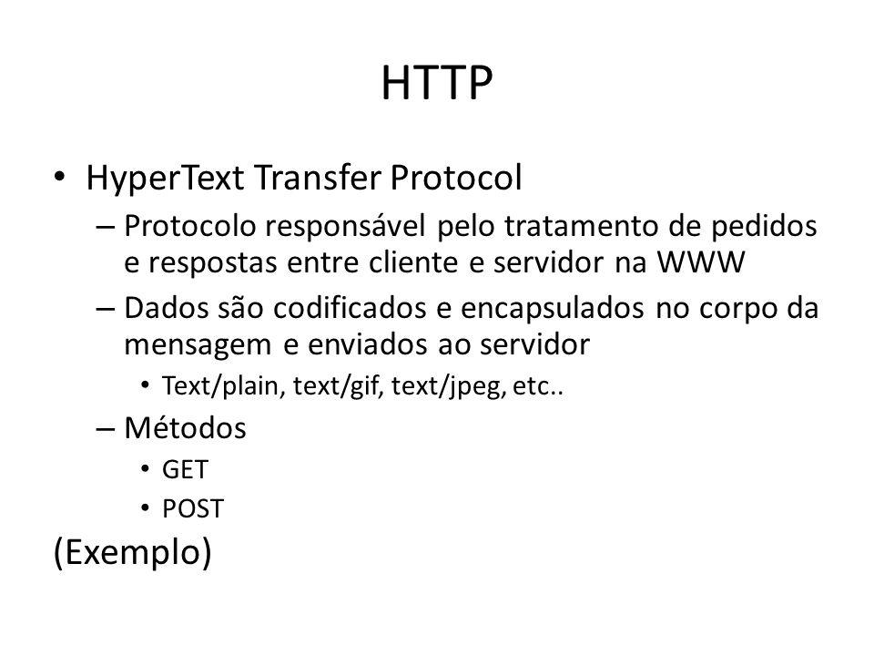 HTTP HyperText Transfer Protocol – Protocolo responsável pelo tratamento de pedidos e respostas entre cliente e servidor na WWW – Dados são codificado