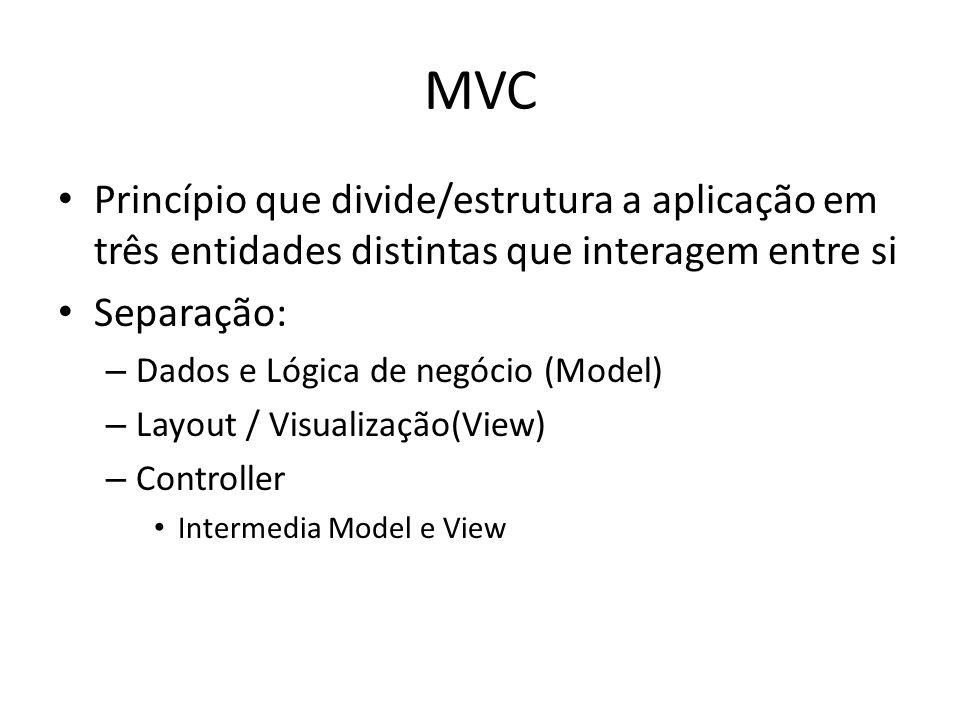 MVC Princípio que divide/estrutura a aplicação em três entidades distintas que interagem entre si Separação: – Dados e Lógica de negócio (Model) – Lay