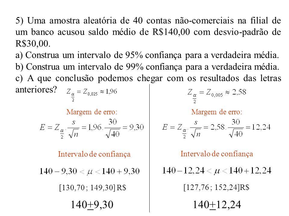 5) Uma amostra aleatória de 40 contas não-comerciais na filial de um banco acusou saldo médio de R$140,00 com desvio-padrão de R$30,00. a) Construa um