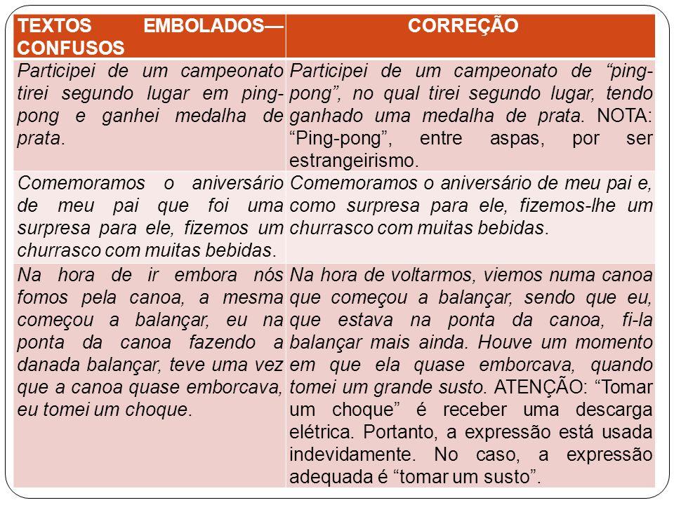 TEXTOS EMBOLADOS CONFUSOS CORREÇÃO Participei de um campeonato tirei segundo lugar em ping- pong e ganhei medalha de prata. Participei de um campeonat
