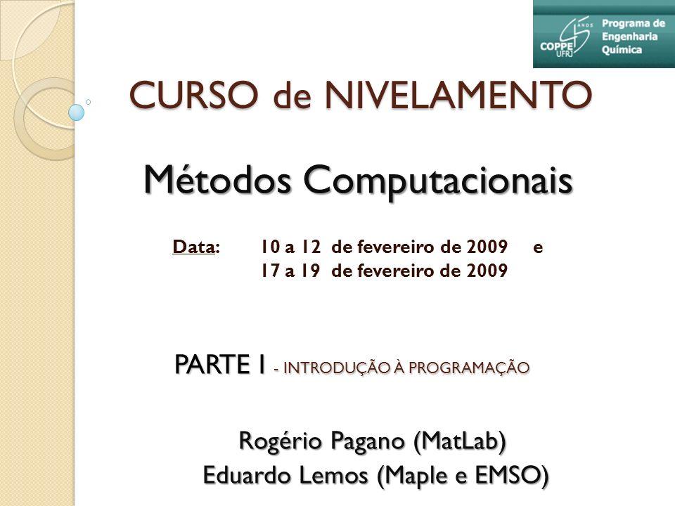 CURSO de NIVELAMENTO Métodos Computacionais Data: 10 a 12 de fevereiro de 2009 e 17 a 19 de fevereiro de 2009 Rogério Pagano (MatLab) Eduardo Lemos (M