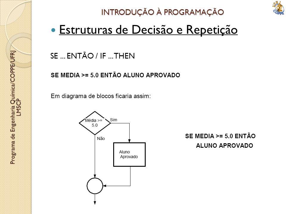 INTRODUÇÃO À PROGRAMAÇÃO Estruturas de Decisão e Repetição SE... ENTÃO / IF... THEN