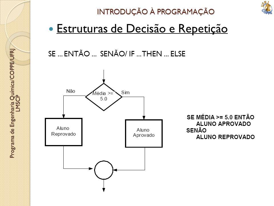 INTRODUÇÃO À PROGRAMAÇÃO Estruturas de Decisão e Repetição SE... ENTÃO... SENÃO/ IF... THEN... ELSE