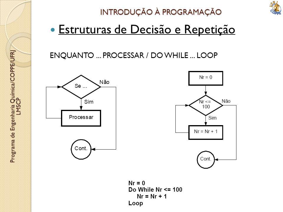 INTRODUÇÃO À PROGRAMAÇÃO Estruturas de Decisão e Repetição ENQUANTO... PROCESSAR / DO WHILE... LOOP